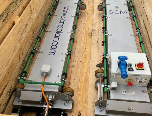 equipo para limpiar paneles solares con doble cepillo